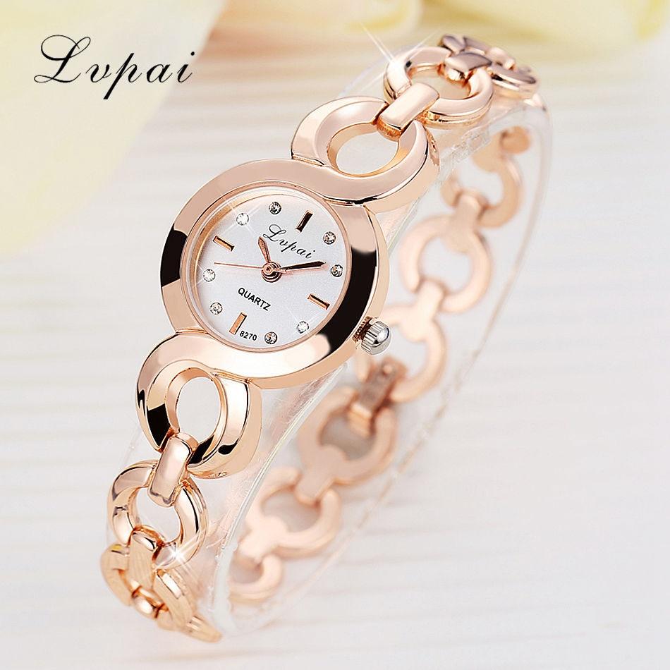 Lvpai Brand Stainess Steel Dress Watches Girls Quartz Watch Bracelet Watch Ladies Fashion Women Crystal Round