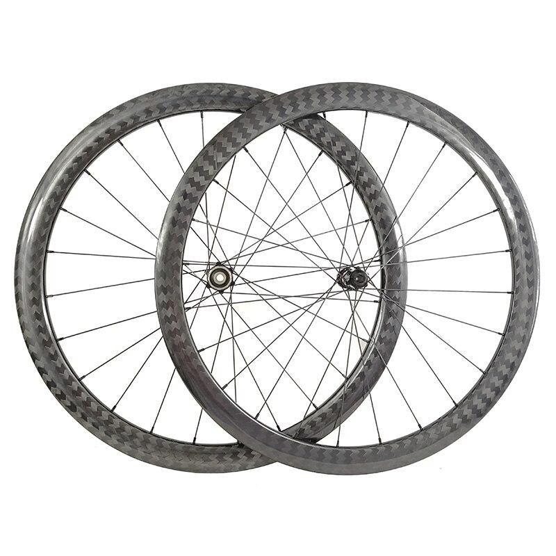 超軽量道路ディスクブレーキ 42 ミリメートルチューブレスカーボンホイール 25 ミリメートル幅センターロックディスクハブオフセット自転車ホイールセット非対称  グループ上の スポーツ & エンターテイメント からの 自転車の車輪 の中 1