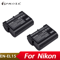 Palo 2Pcs 2500mAh EN EL15 ENEL15 EN EL15 decoded Camera Battery For Nikon DSLR D600 D610 D800 D800E D810 D7000 D7100 D7200