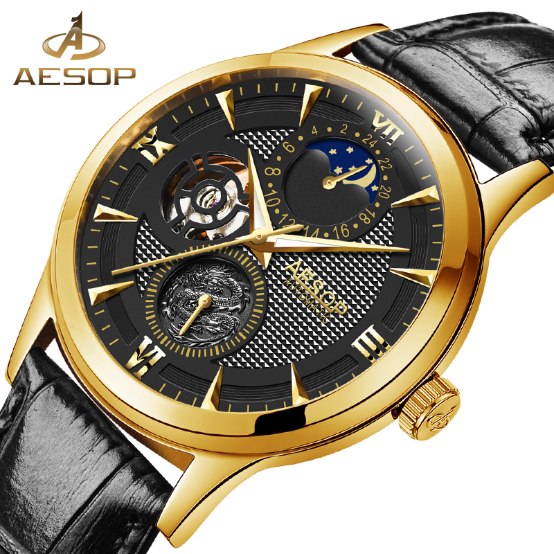 AESOP Fashion Casual Watch Men Automatic Mechanical Gold Wrist Watches Wristwatch Male Clock Relogio Masculino Hodinky Box 27 aesop new brand fashion watch men blue automatic mechanical wrist wristwatch male clock relogio masculino hodinky 2017 box 46