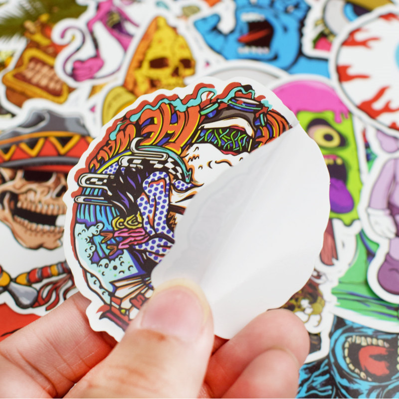 Image 5 - 50Pcs Mixed Cool Skull Vinyl Computer Stickers Spoof Horror Waterproof Sticker For Laptop Suitcase Car Phone Decoration  Decals-in Laptop Skins from Computer & Office