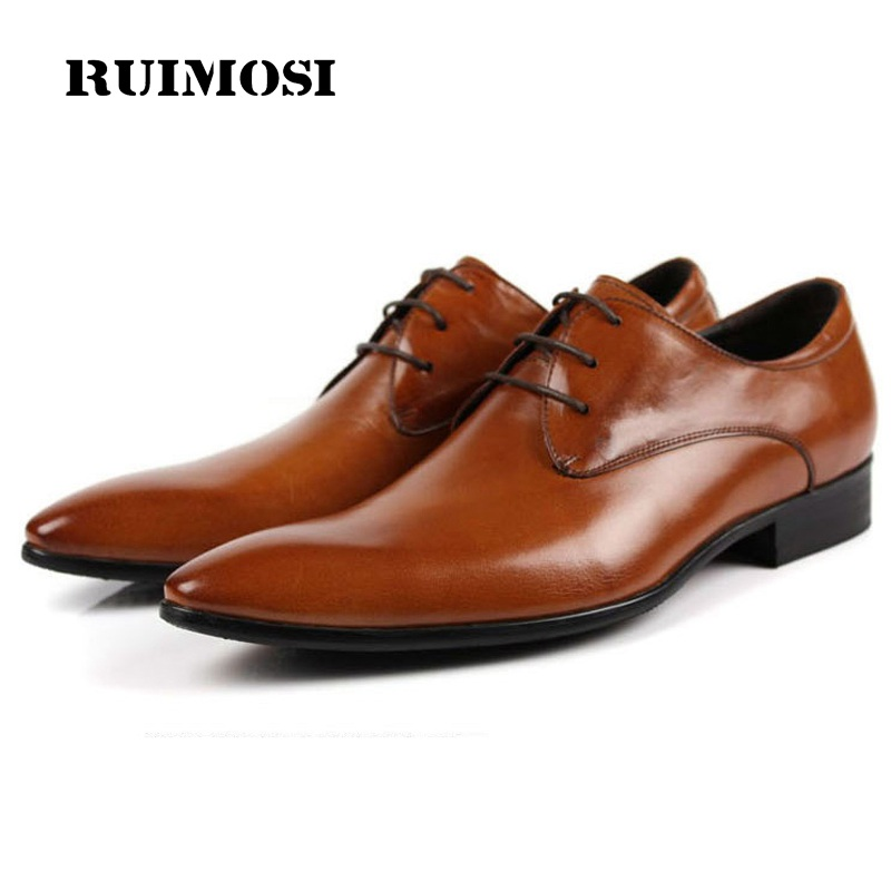 RUIMOSI New Luxury Brand Pointed Toe Man Formal Dress Wedding Shoes Genuine Leather Male Oxfords Men's Derby Bridal Flats IH89