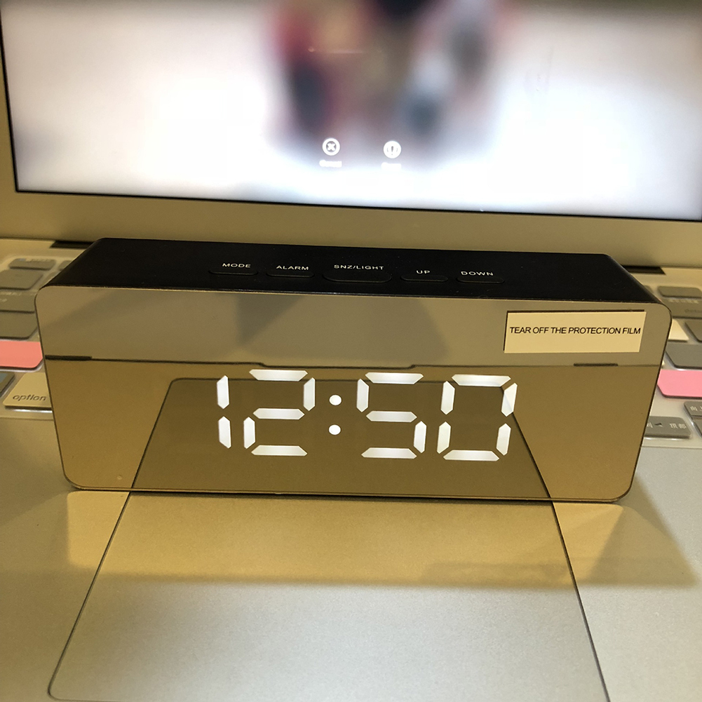 Wholesale Mirror Digital LED Alarm Clock Night Lights Thermometer Wall Clock Lamp Square Rectangle Multi-function Desk Clocks