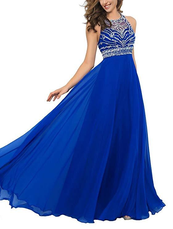 Chiffon With Beadings Sleeveless A-Line Formal Eveving Dress Long Custom Made Prom Dress Vestidos De Graduacion Largos 2019