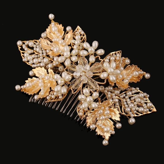 Ручной старинные барокко свадебный волосы украшения для волос невесты аксессуары большой хрустальный перл волосы расческой золото оставляет цветок свадьбы тиару
