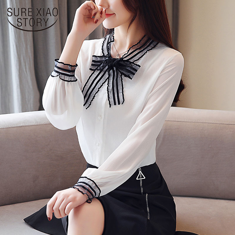 Chiffon women shirt loose long-sleeved 2019 Spring  womens tops and blouses elegant white female shirt lace OL blouse 1808 50