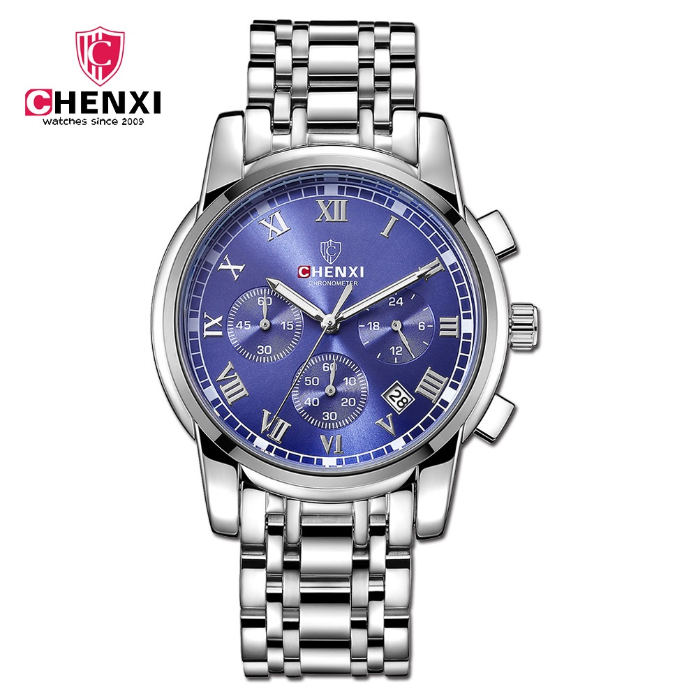 CHENXI Brand Men Business Watches 2017 Silver Blue Waterproof Stainless Steel Casual Dress Male Quartz Wristwatch Unique Gift стоимость