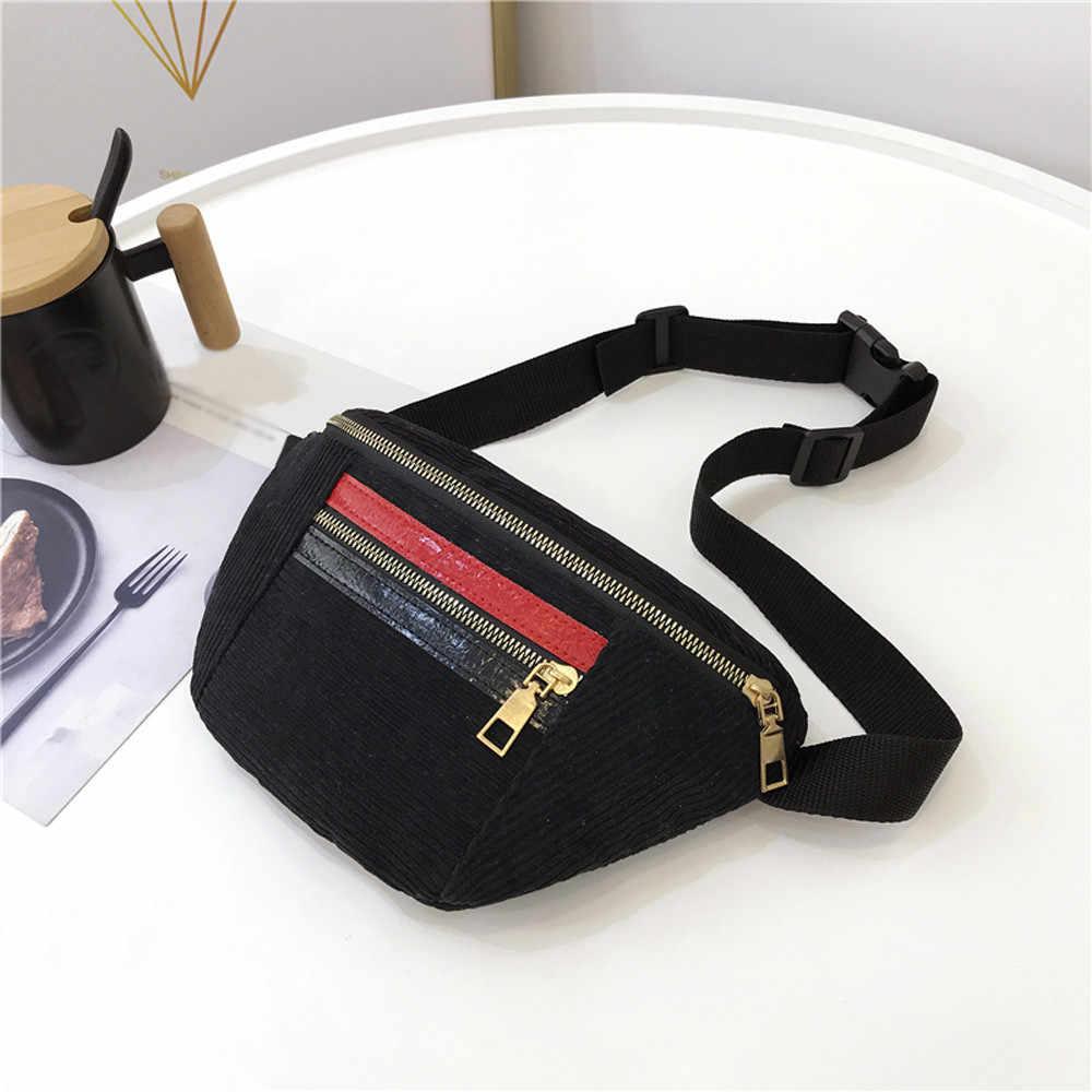 b9593942c7d422 ... Belt Bag Women 2018 New Leisure Women Girl Panelled Zipper Corduroy  Messenger Bag Chest Waist Bag ...