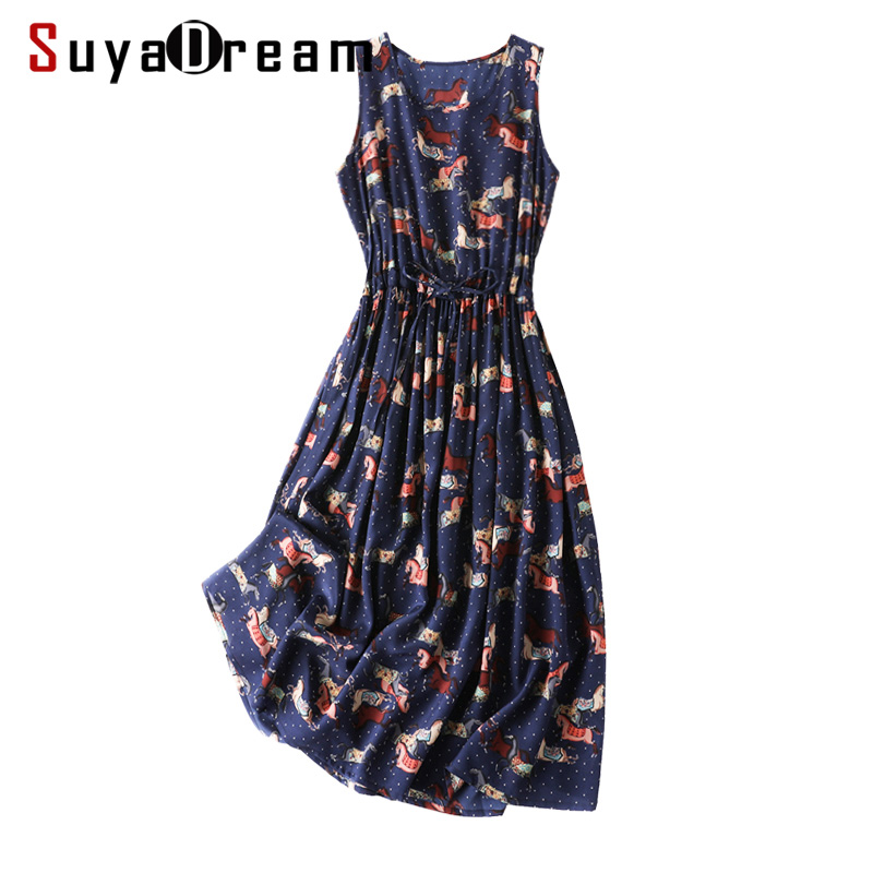Women Long Dress 100 SILK CREPE Printed Maxi long Dresses for Women Belted Sleeveless O neck