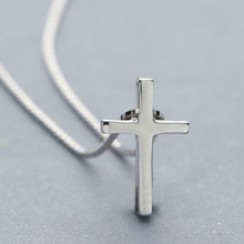 L&P New fashion Simple and Smooth Cross Pendant Necklace.Real 925 sterling silver cross pendant necklace.Attractive  jewelry
