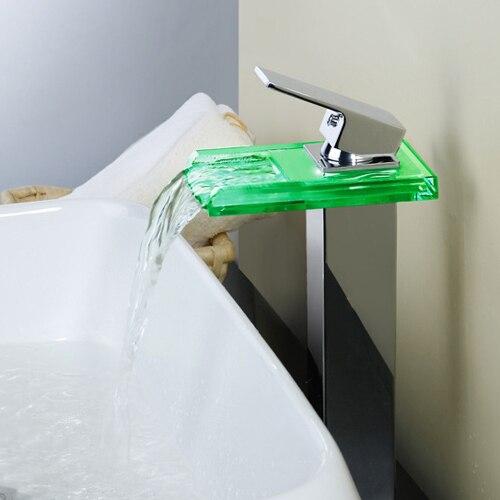 Стекло раковина кран светодиодные Изменение цвета Водопад коснитесь Chrome светодиодный одной Рычаг Ванная комната ПРИВЕЛИ водопроводный кр...
