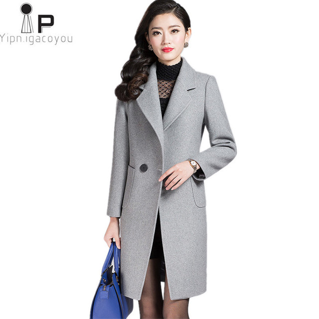 5613c7eb73a Elegant winter wool women coat 2018 Korean New Double-breasted Plus size  Warm Long grey ladies jackets Loose fashion womens coat