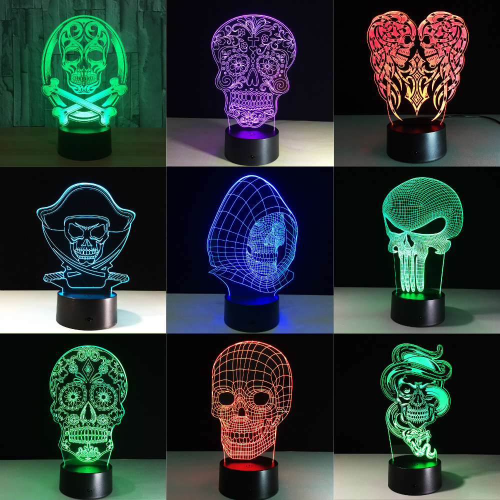 3D LED Color Night Light Changing Lamp Halloween Skull  Light Acrylic 3D Hologram Illusion Desk Lamp For Kids Gift Dropship