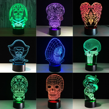 3D Led Kleur Nachtlampje Veranderende Lamp Halloween Schedel Licht Acryl 3D Hologram Illusion Bureaulamp Voor Kinderen Gift Dropship