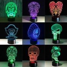 Lámpara LED 3D que cambia de Color con la luz de noche de Halloween, Calavera, holograma acrílico 3D, ilusión, escritorio, regalo para niños