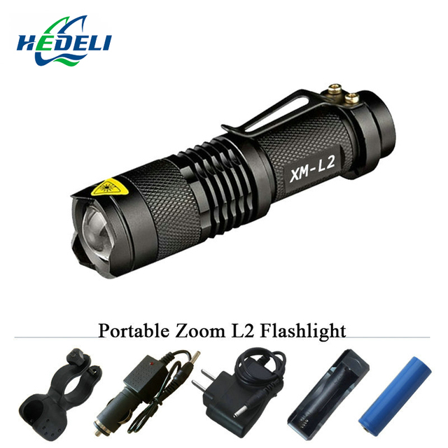 Miniature Strong Light Flashlight Led Compact Zoom 3 Or 5 Mode