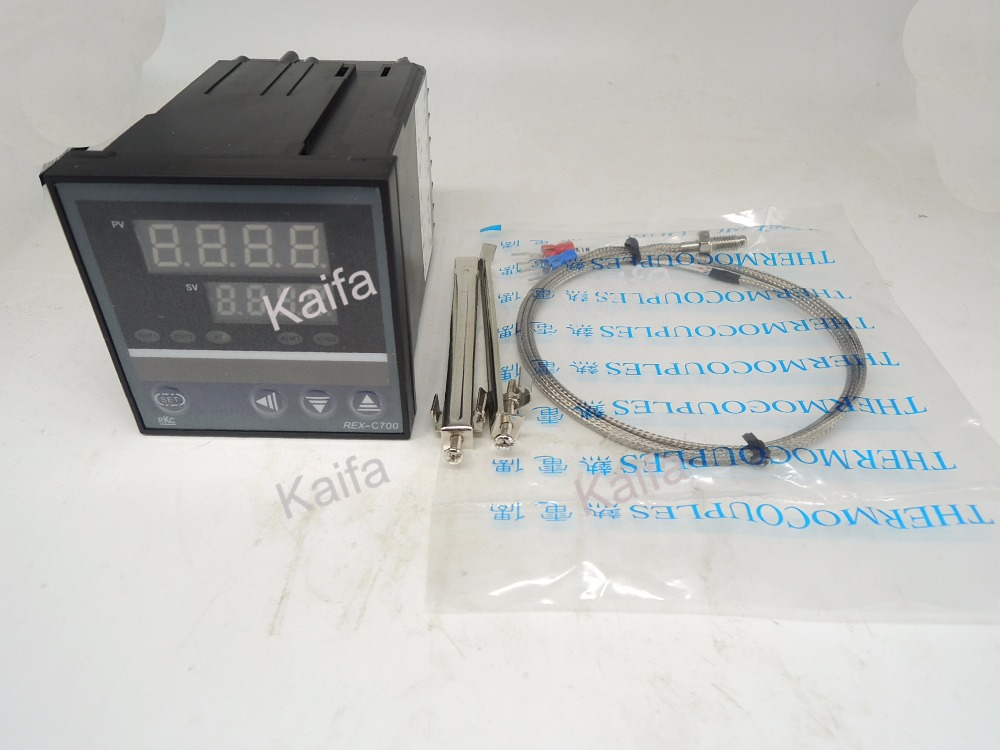 ,Digital PID Temperature Controller Thermostat REX-C700  + 1M K Thermocouple Probe,100V~240V AC