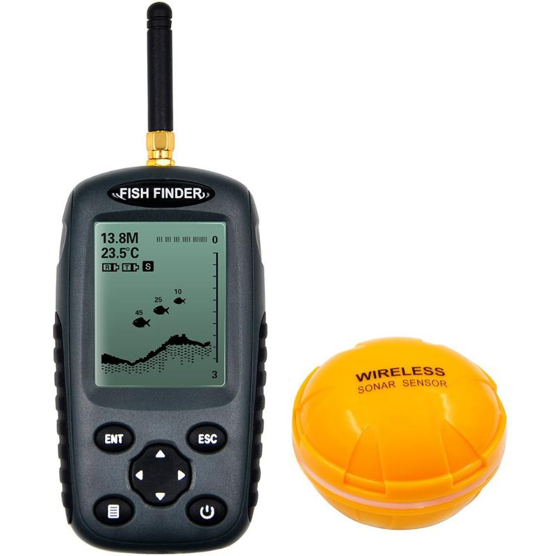 Handheld Wireless LCD Fish Finder Sonar Sounder Waterproof Alarm Transducer Adjustable sensitivity Fishing Finder Monitors lucky ffw1108 1 color lcd display portable wireless sonar fish finder water resistant 40m 120ft depth sonar sounder alarm b9
