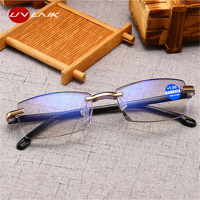 UVLAIK Ultralight Rimless Reading Glasses Women Men Anti-blue radiation Computer Glasses Presbyopia Eyeglasses +1.5 +2.0 +2.5