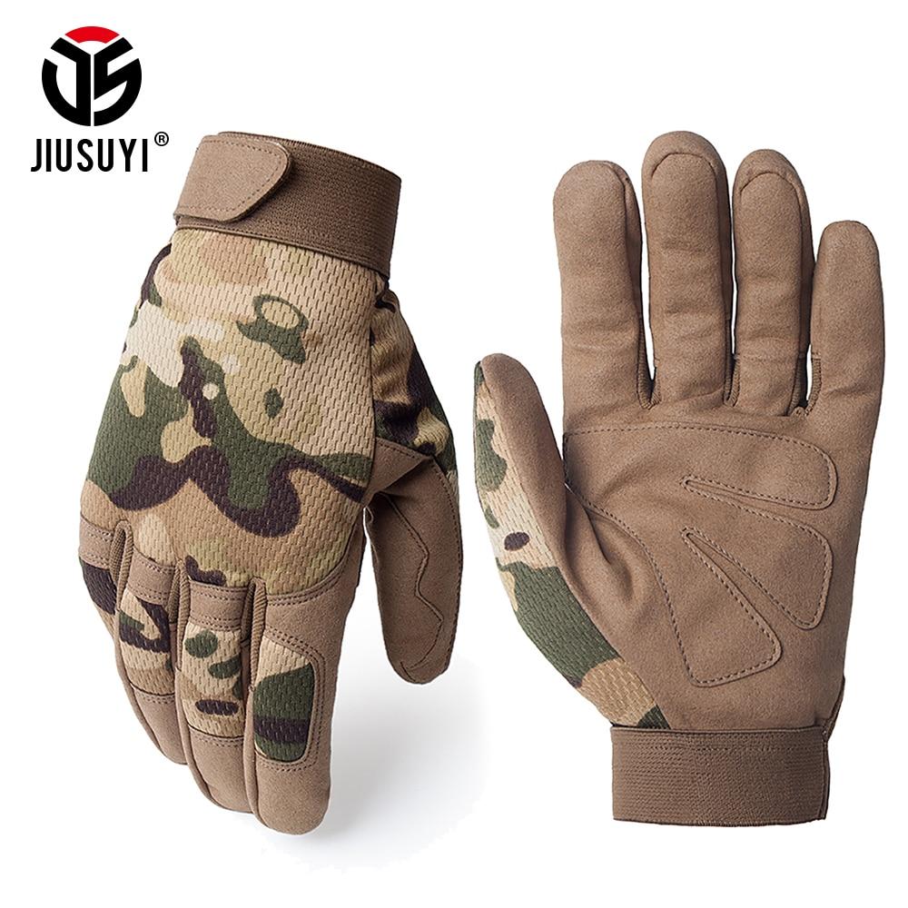 Multicam táctico guantes antideslizante militar del ejército de Airsoft Motocycel disparar Paintball equipo de trabajo de camuflaje dedo completa guantes de los hombres