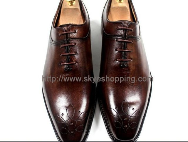 CIE14 -Free Shipping Custom handmade handcrafted BROWN pure calfskin leather mens dress oxford shoes MACKAY CRAFT Sz39-58