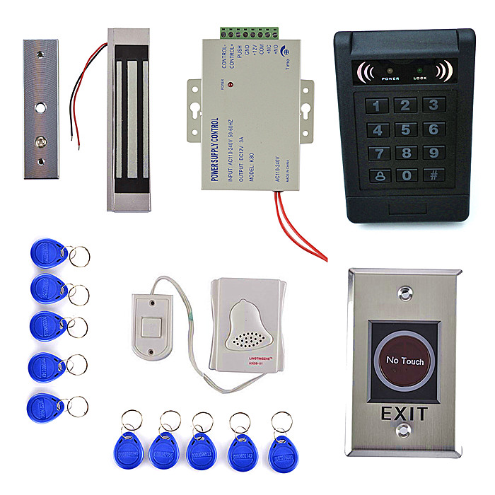 180KG Magnetic Lock +125KHz RFID Reader Password Keypad Access Control System Security Kit + IR NO Touch Exit Button diysecur touch panel rfid reader password keypad door access control security system kit 180kg 350lb magnetic lock 8000 users