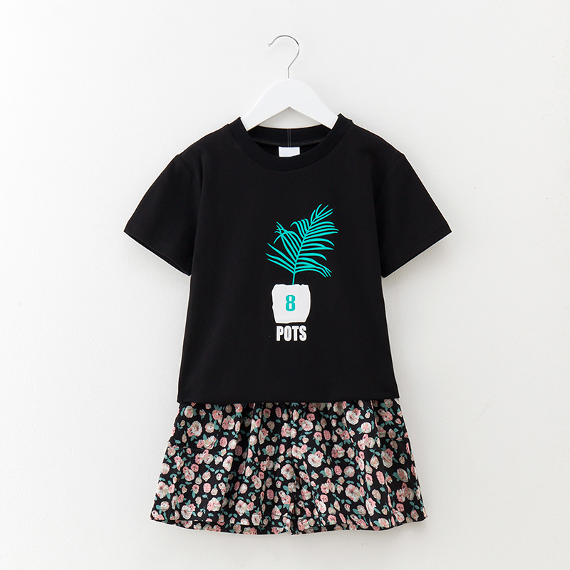2 pcs/sets Summer Newborn sets Baby T-shirt +skirt sports set girls clothes children clothing cotton shorts Casual suit 3-5-12y 2017 summer style girls clothing set baby girl clothes sets cartoon flower children kids black t shirt skirt white casual suit