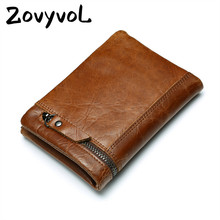 ZOVYVOL 2019 Crazy Horse Genuine Leather Men Wallet Vintage Business Casual Coin Purses With Zipper Fashion Short