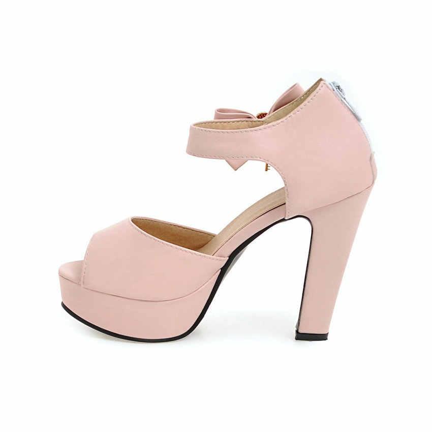 ESVEVA 2019 kadın pompaları platformu kelebek-düğüm kanca ve döngü Peep Toe kare yüksek topuklu sandalet pompaları moda Lades ayakkabı boyutu 34-43