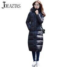 Новый 2016 Высокое Качество Теплый Женщины Зимняя Куртка Сплошной Цвет Пальто Мода Длинные Стройные Ватные Толщиной Куртка Женский MA225