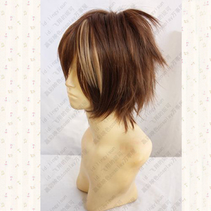 Image 3 - Guilty Crown OUMA SHU Short Brown Mix Fluffy Layered Synthetic Hair Cosplay Anime Wigs + Free Wig Cap