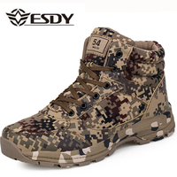 Esdy Winter Camouflage Tactical Military Combat Men Boots Outdoor Wearable Warm Cotton Shoes Climbing Army Men