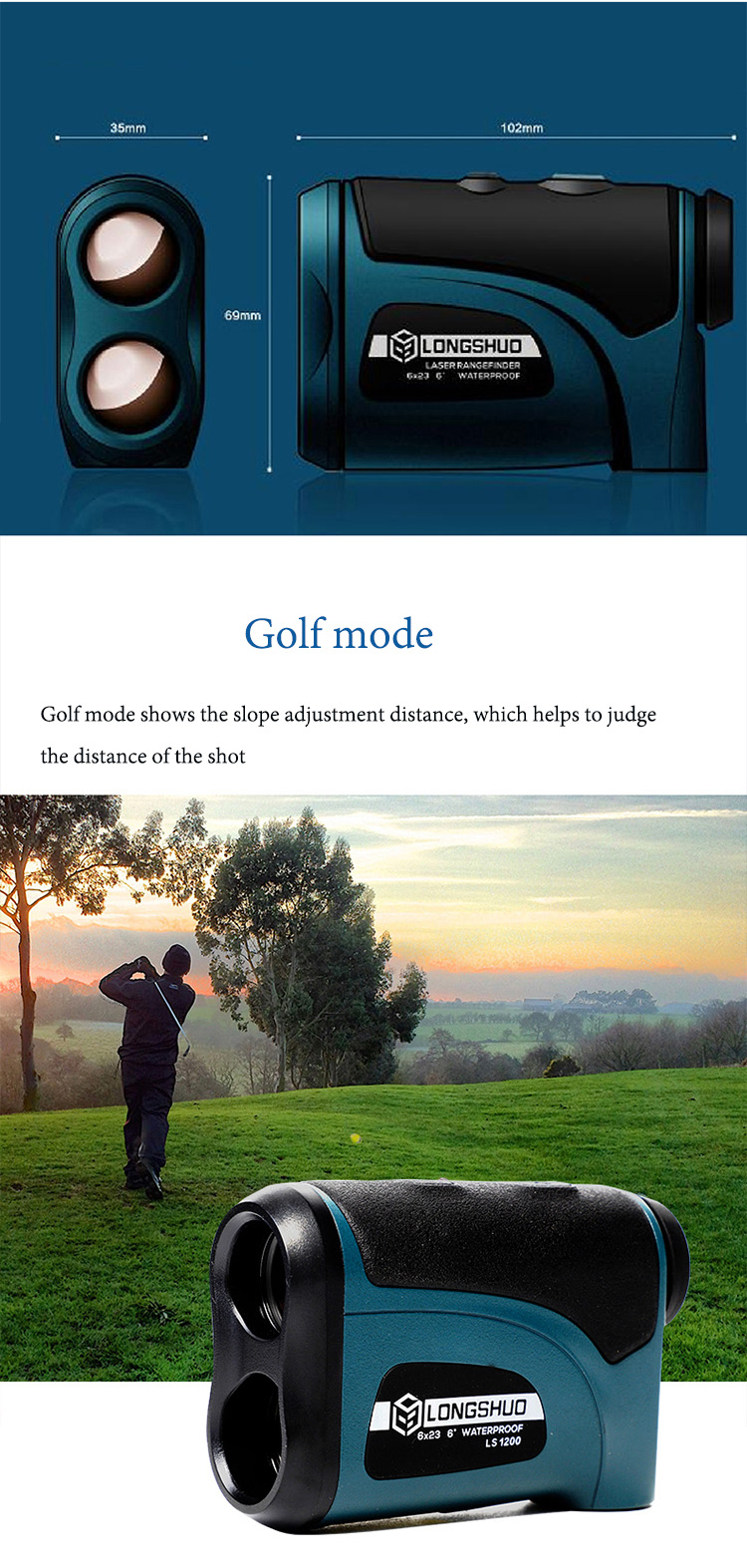 Laser 800m-1200m Rangefinder with LCD Display and Golf Slope Adjustment Mode for Sports 7