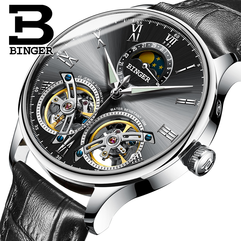 Switzerland BINGER Mens Watches Top Brand Luxury Waterproof Full Steel Automatic Mechanical Leather Male Double Tourbillon WatchSwitzerland BINGER Mens Watches Top Brand Luxury Waterproof Full Steel Automatic Mechanical Leather Male Double Tourbillon Watch