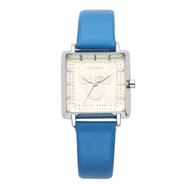 1f11baaa8e5 Senhoras relógio de forma Quadrada estilo simples relógio de quartzo Da  marca Disney Mickey mouse cabeça