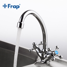 Frap Classic Style Kitchen Faucet Cold and Hot Water Mixer Tap Double Handle Torneira Cozinha 360 Degree Rotation F4908
