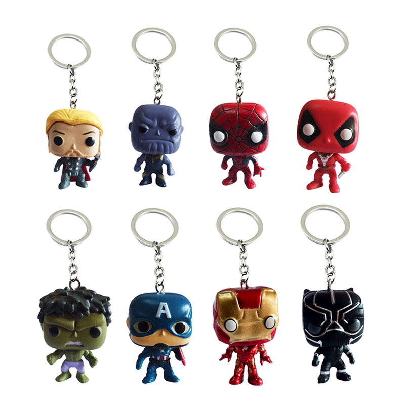 Marvel Superhero Iron Spider Man Thor Keychain Captain America Hulk Black Panther Thanos Deadpool Keyring Key Chains Pendant