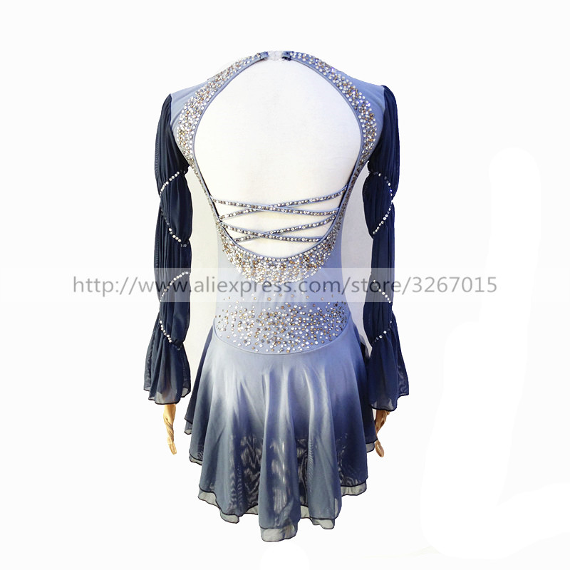 Image 3 - Figure Skating Dress Womens Girls Ice Skating Dress Light grey High elastic spandex fabric Artificial water drill Backlessbacklessbackless dress  -
