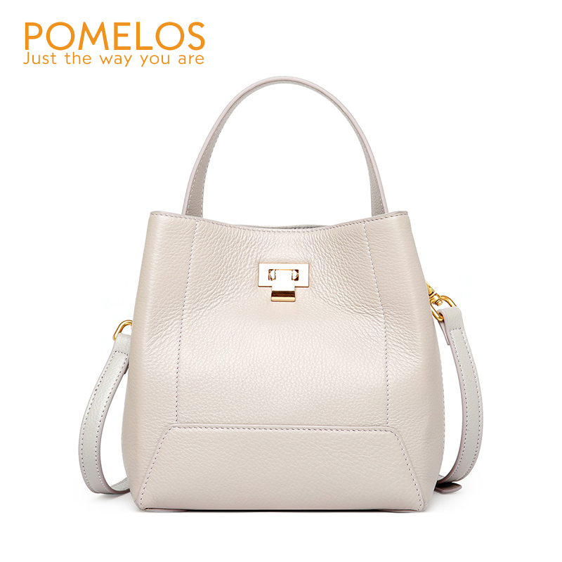POMELOS Genuine Leather Women Purses and Handbags Fashion Bucket Bag High Quality Crossbody Bags for Women Ladies Bag Luxury New high quality women s handbags fashion manual violin bag women purses unilateral oblique bag support drop shipping