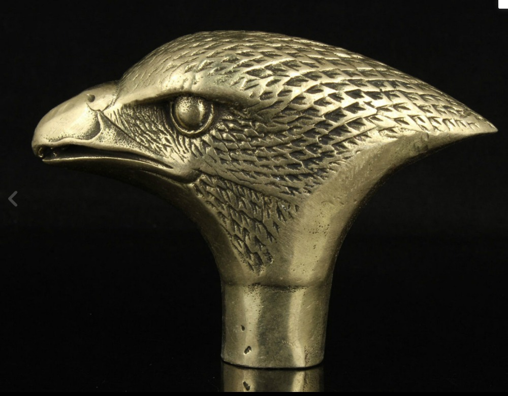 CHINESE Old Copper Handwork Carved eagle Statue Walking Stick Head Collectable
