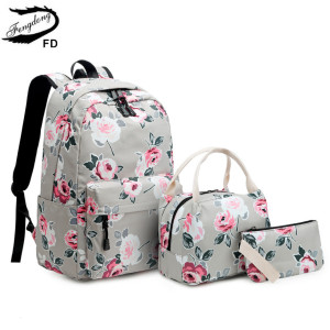 Image 3 - Fengdong 3pcs/set school bags for teenage girls rose flower printing school backpack set kids floral book bag travel backpack