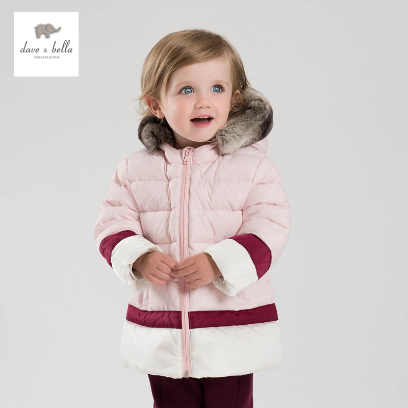 DB3609 dave bella winter baby girls pink coat white duck down outerwear hooded coat