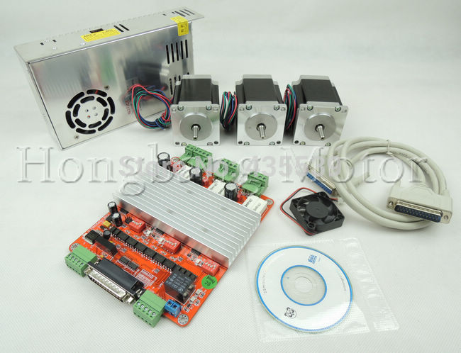 3 axis CNC controller kit,3pcs Nema 23 76mm 3A stepper motor + one 3 Axis TB6560 Stepper Motor  Driver +one 250W Power supply