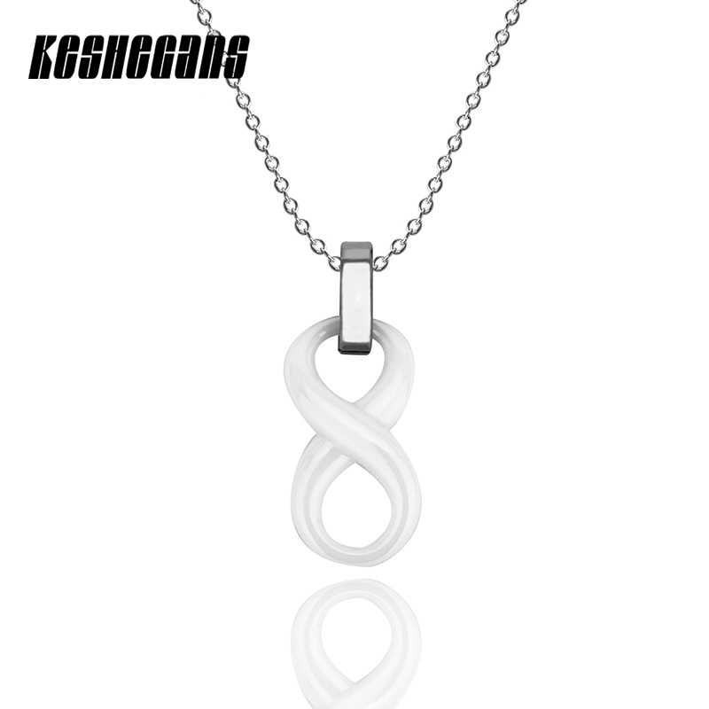 Black White Ceramic Infinity Symbol Pendant Necklace Simple For Women Lady Number 8 Pendant 40cm Steel Chain Exquisite Jewelry