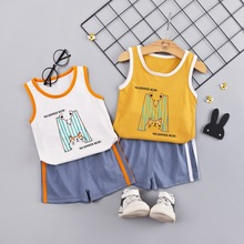 Oklady Baby Boy 2019 Childrens Clothes Active Sportwear Letter M Print Sleeveless Shirt Blue Pants Boys Summer Girls Set