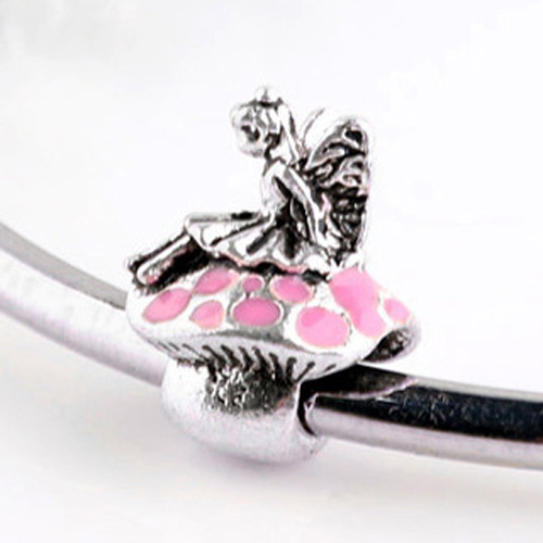 For Women DIY Jewelry Making Fit Pandora Bracelet Bangle Fashion Jewelry Vintage Enamel Cute Angel Silver Plated Beads Charms