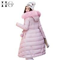 HEE GRAND Women Winter Parkas 2017 Warm Fur Collar Long Coat Casual Cotton Padded Overcoat Hooded