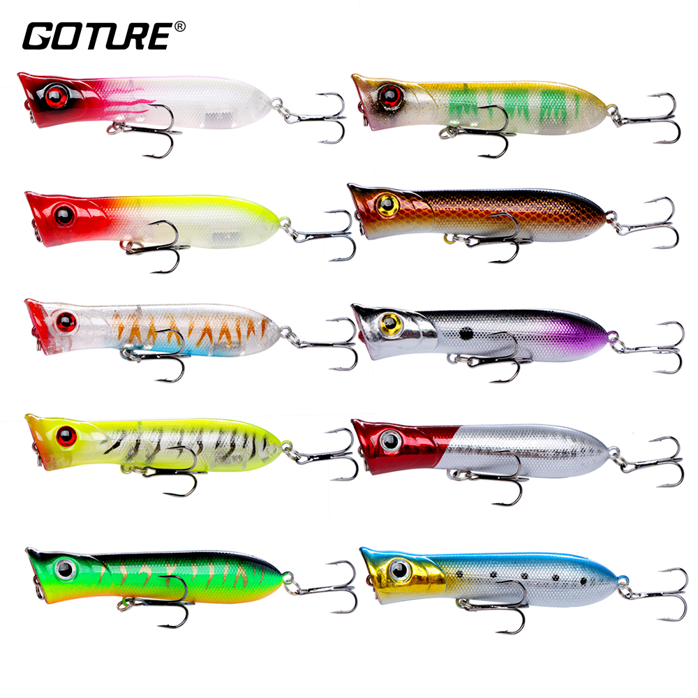 Goture 10pcs Floating Poppers Lures Pescuit 8cm 11.6g # 6 Treble cârlig Crankbaits pentru pescuitul basului, Pike, Walleye Fake Lures Pescuit