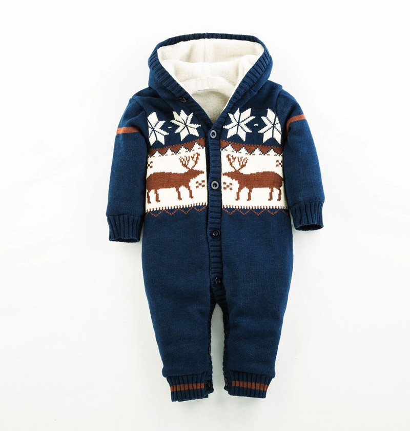 Knitted Sweater Cotton Hooded Baby Girl Rompers Warm Thick Coral Fleece Winter Newborn Boy Clothes Snowsuit Babies Jumpsuits цена