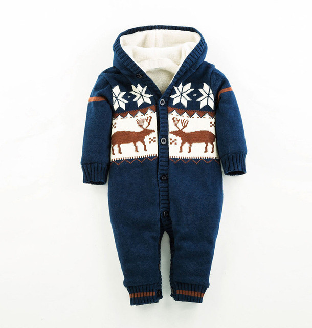 Knitted Sweater Cotton Hooded Baby Girl Rompers Warm Thick Coral Fleece Winter Newborn Boy Clothes  Snowsuit Babies Jumpsuits